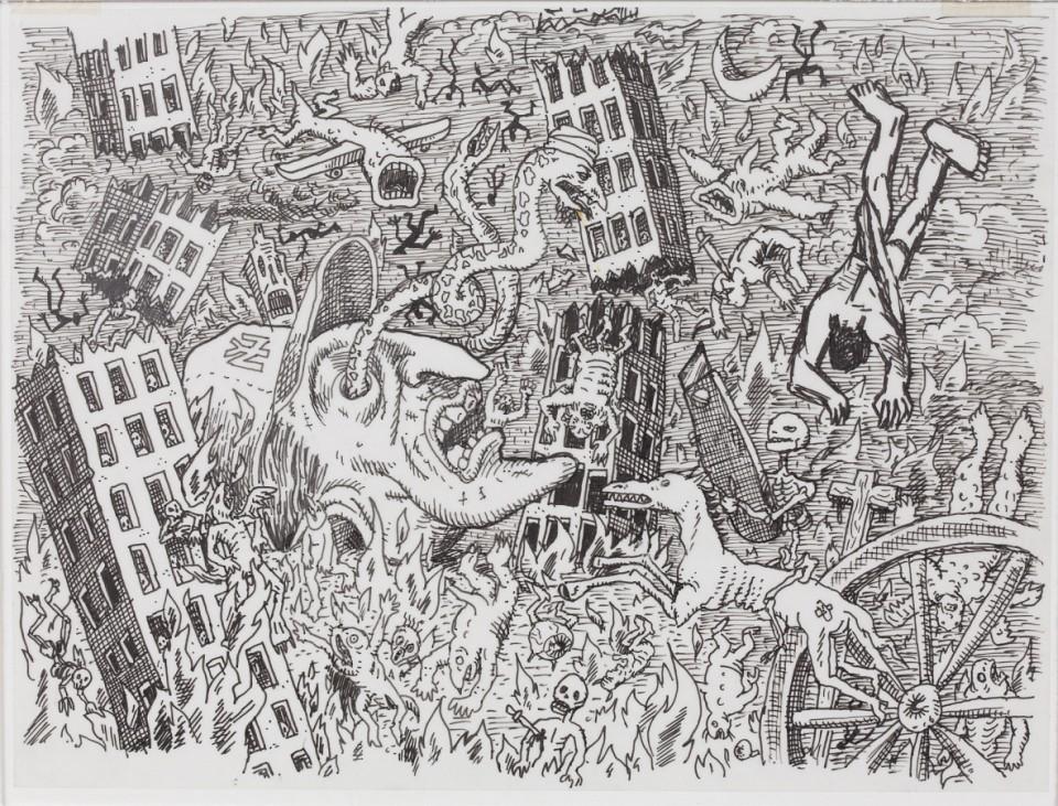 Art Spiegelman Illustration für das Zentrum der Bildtafel Nr. 6 von Im Schatten keiner Türme. Tuschezeichnung. 2002