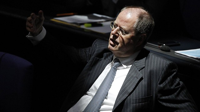 German former Finance Minister Steinbrueck attends Bundestag session in Berlin