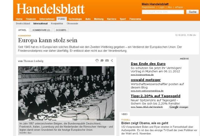 Screenshot Handelsblatt