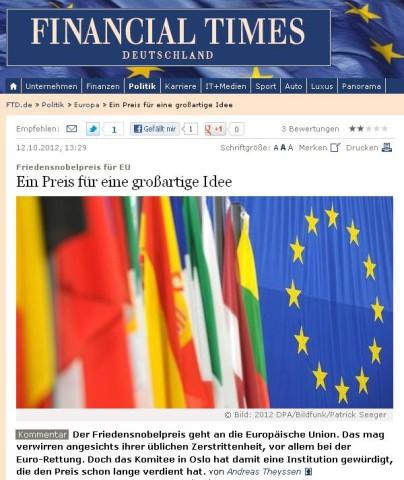 Screenshot Financial Times Deutschland