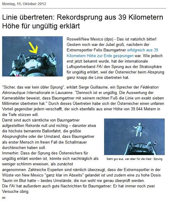 Felix Baumgartner Persiflagen