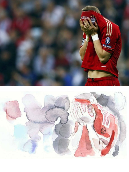 Schweinsteiger of Bayern Munich reacts after missing a penalty against Chelsea during their Champions League final soccer match at the Allianz Arena in Munich