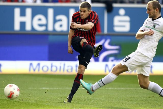 Frankfurt's Jung scores goal during their German Bundesliga soccer match against Hannover in Frankfurt