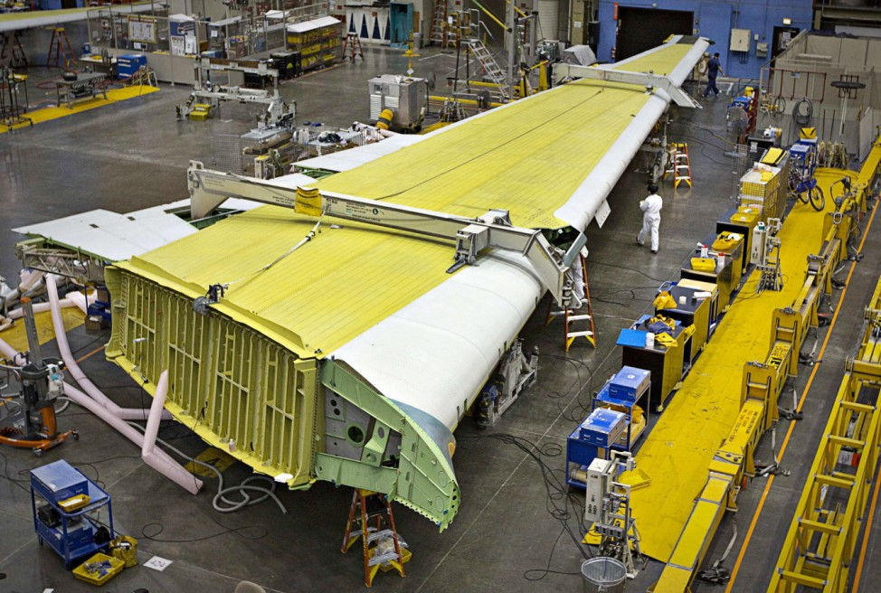 The wing for a Boeing 777 airliner sits on the assembly line at the company's plant in Everett