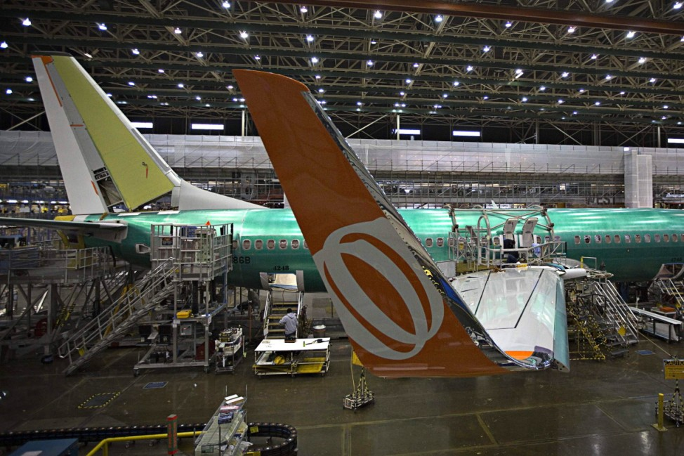 A Boeing 737-900 sits on the assembly line at the company's operations in Renton