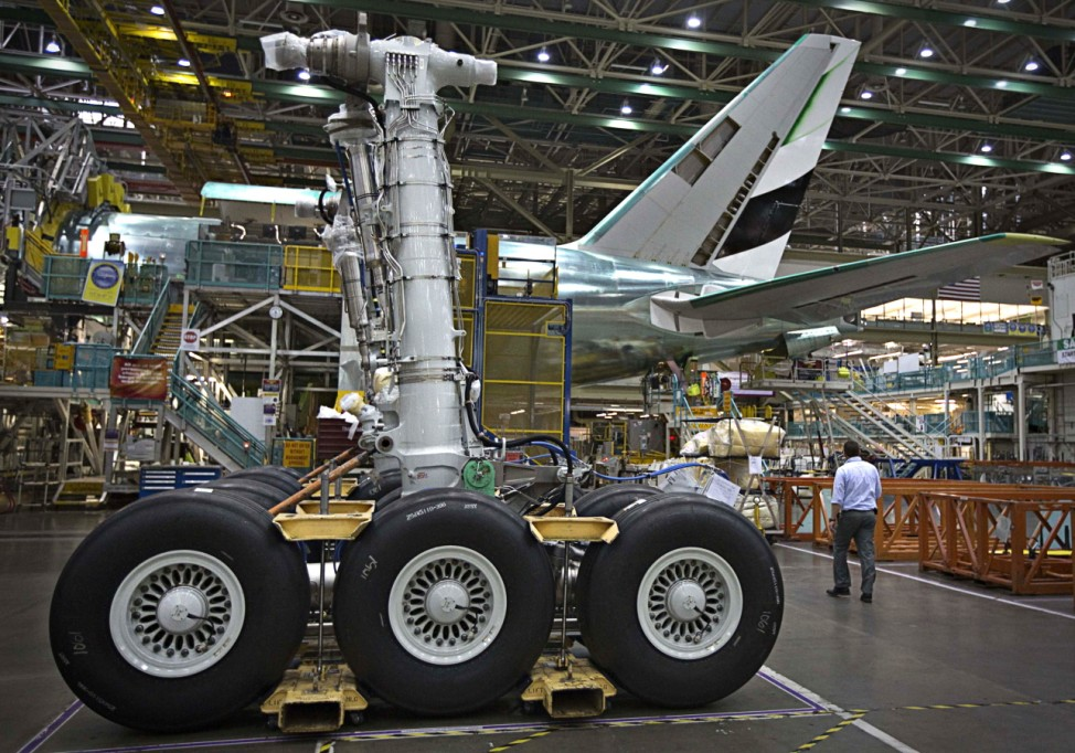 The undercarriage for a Boeing 777 awaits installation at their assembly operations in Everett