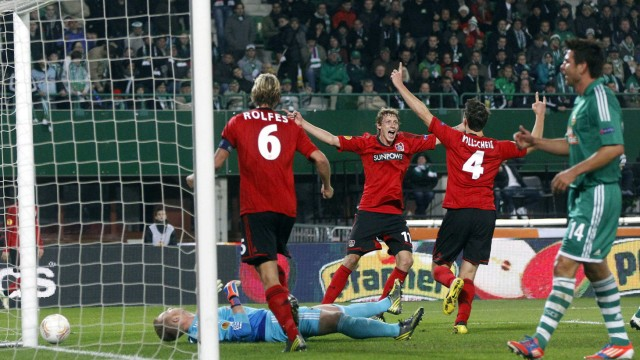 Bayer Leverkusen's  Wollscheid  celebrates with his team mate Kissling after scoring a goal during their Europa League Group K soccer match in Vienna