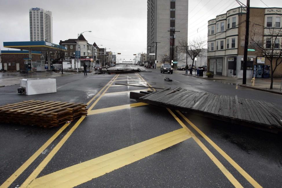 Debris is seen in the aftermath of Hurricane Sandy's landfall in Atlantic City