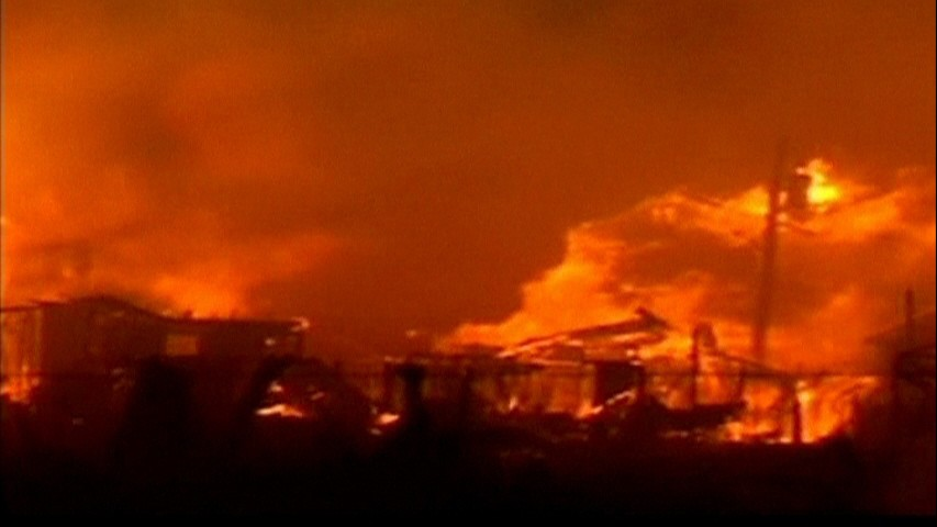 A huge fire that erupted as Hurricane Sandy ripped through New York City with near-hurricane force winds in the neighborhood Breezy Point in the borough of Queens in New York