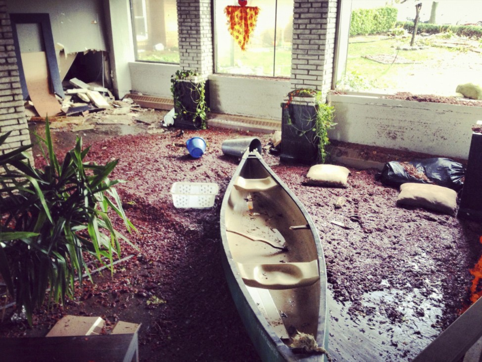 A canoe sits in the lobby of an apartment building in the aftermath of Hurricane Sandy in Sheepshead Bay, Brooklyn