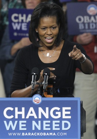 Wife of US Democratic presidential nominee Senator Barack Obama (D-IL), Michelle Obama, speaks to a crowd of supporters during a campaign stop in Bexley