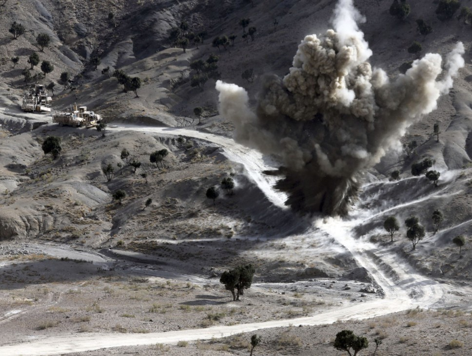 US soldiers blows up a roadside bomb near the town of Walli Was in Paktika province