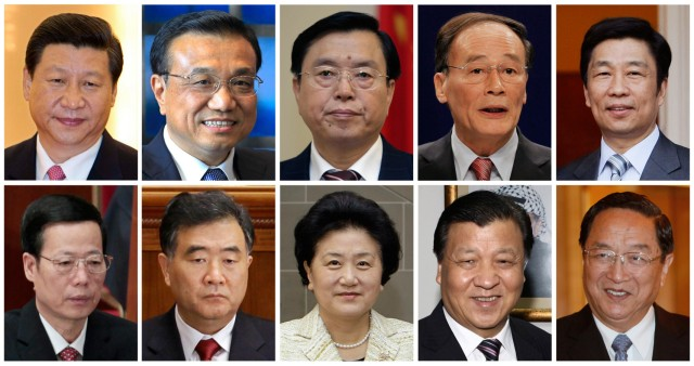 Combination picture of main candidates vying for seven seats on China's Communist Party party's next Politburo Standing Committee