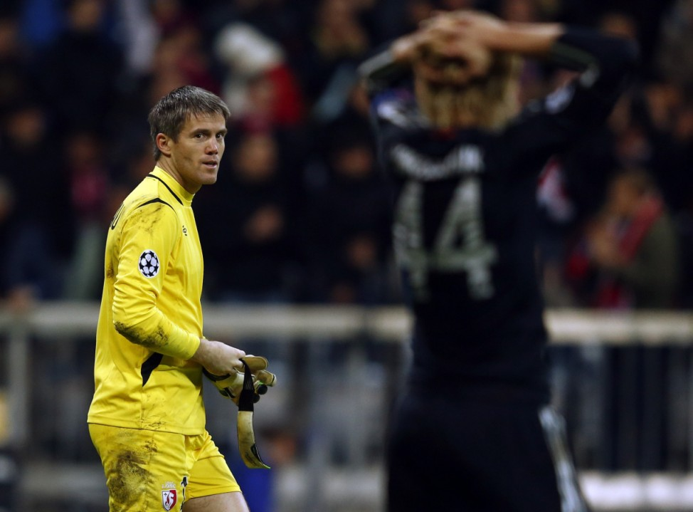 Lille's goalkeeper Mickael Landreau leaves the pitch after their Champions League Group F soccer match against Bayern in Munich