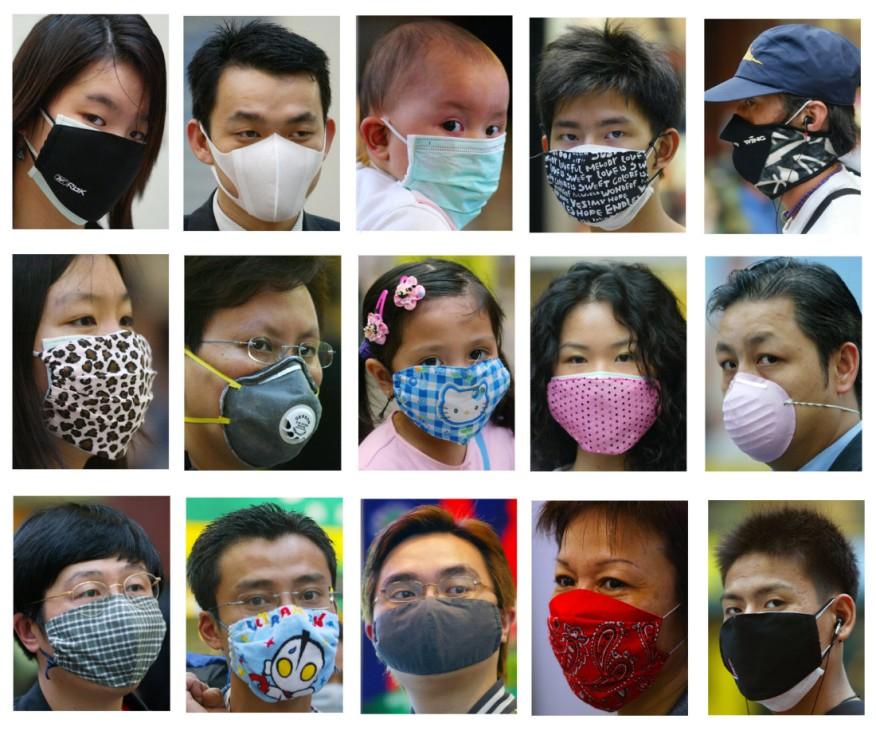Hongkonger Bürger schützen sich vor dem Lungenvirus (SARS), 2003