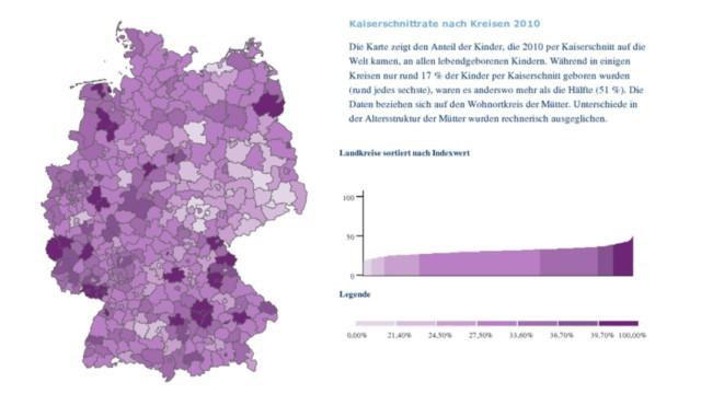 Kaiserschnittrate nach Landkreisen