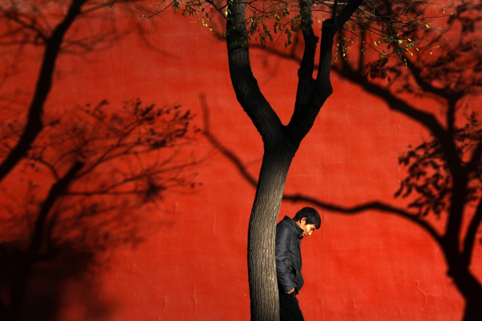 Shadows of trees are cast onto a wall of the Forbidden City as a man walks past on a cold, sunny day in Beijing