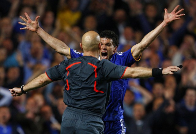 Chelsea's Michael Ballack screams at referee Tom Henning Ovrebo after a possible handball by Barcelona during their Champions League second leg semi-final soccer match at Stamford Bridge in London