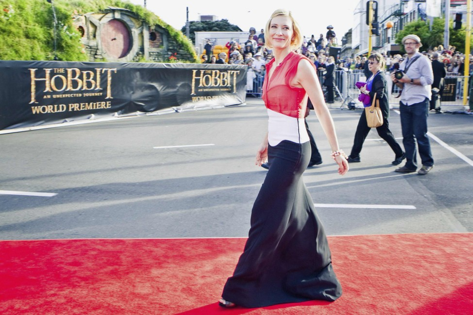 Australian actress Blanchett poses on the red carpet at the world premiere of 'The Hobbit - An Unexpected Journey' in Wellington