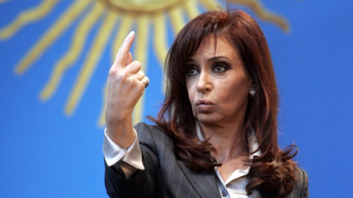 Argentina's President Fernandez de Kirchner gestures during a rally in Buenos Aires