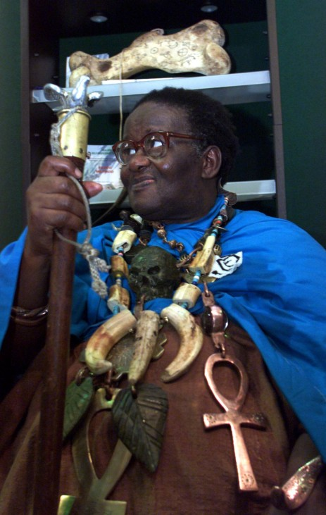 TRADITIONAL WITCHDOCTOR CREDO MUTWA ATTENDS THE XIII INTERNATIONAL AIDS CONFERENCE