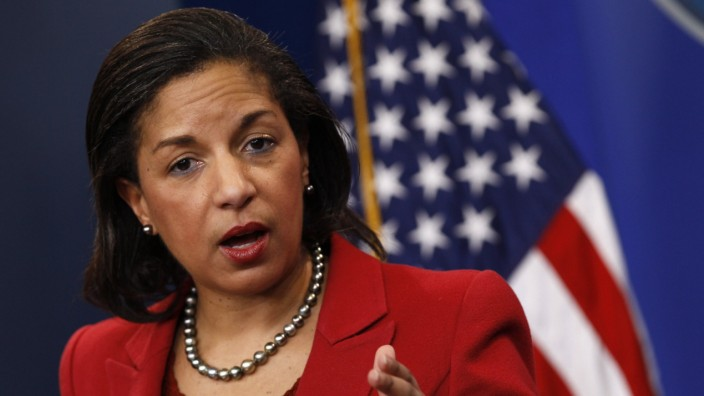 File photo of U.S. Ambassador to the United Nations Rice speaking at the White House in Washington