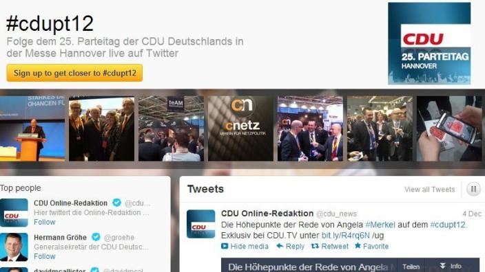 Twitter-Seite der CDU beim Parteitag in Hannover