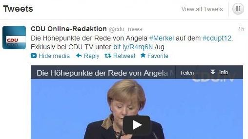 Twitter-Seite der CDU auf dem Bundesparteitag