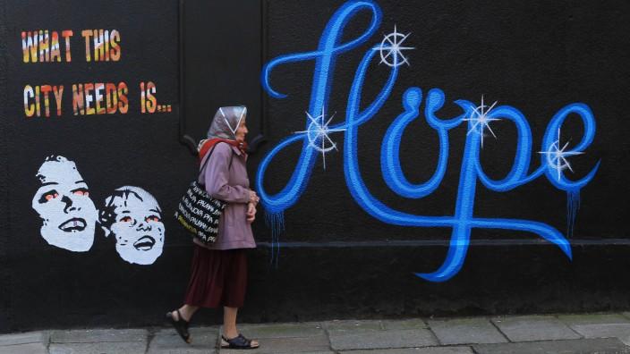 """EU-Ratsvorsitz für Irland: """"Was diese Stadt braucht, ist Hoffnung"""", steht auf einer Wand in Dublin. Inzwischen ist die Hoffnung wieder da. In Dublin. Und in Irland."""