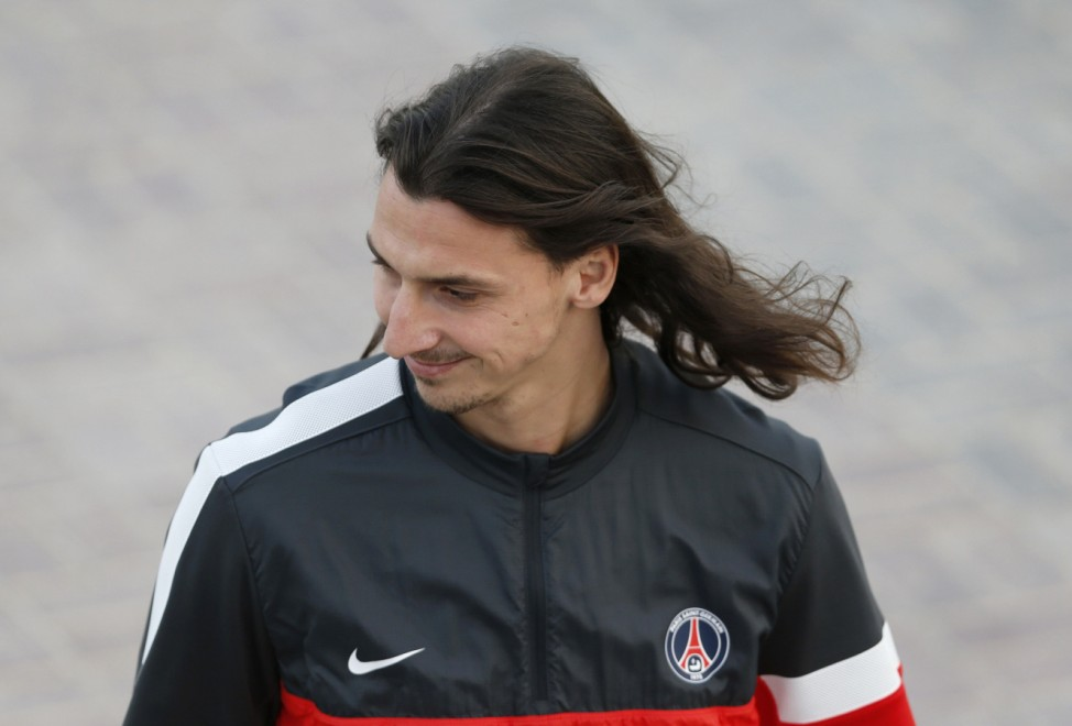 Paris Saint-Germain's Zlatan Ibrahimovic arrives for a training session at the Aspire Academy of Sports Excellence in Doha