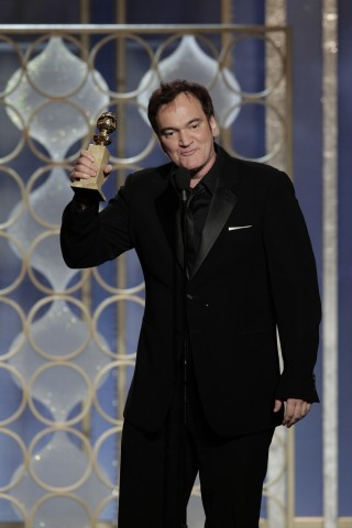 Quentin Tarantino, winner of Best Screenplay - Motion Picture, for 'Django Unchained' on stage at the Golden Globe Awards in Beverly Hills