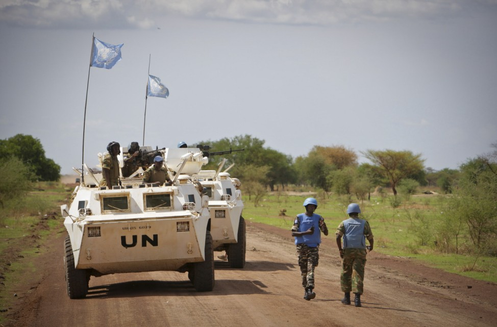 UNMIS handout shows military observer from Namibia serving with the international peacekeeping operation during a patrol in the region of Abyei