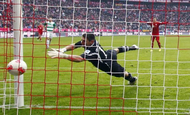 Munich's Mario Mandzukic scores a goal against Greuther Fuerth during their German Bundesliga first division soccer match in Munich