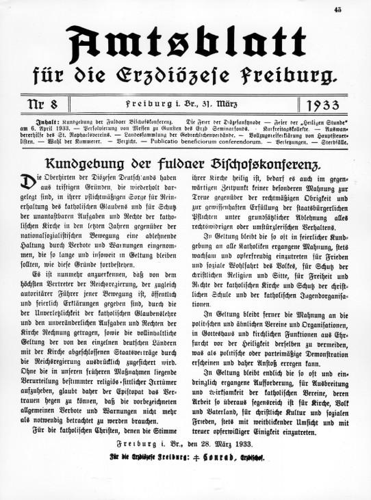 Anerkennung der Regierung Hitler im Amtsblatt der Erzdiözese Freiburg, 1933 SZ Photo