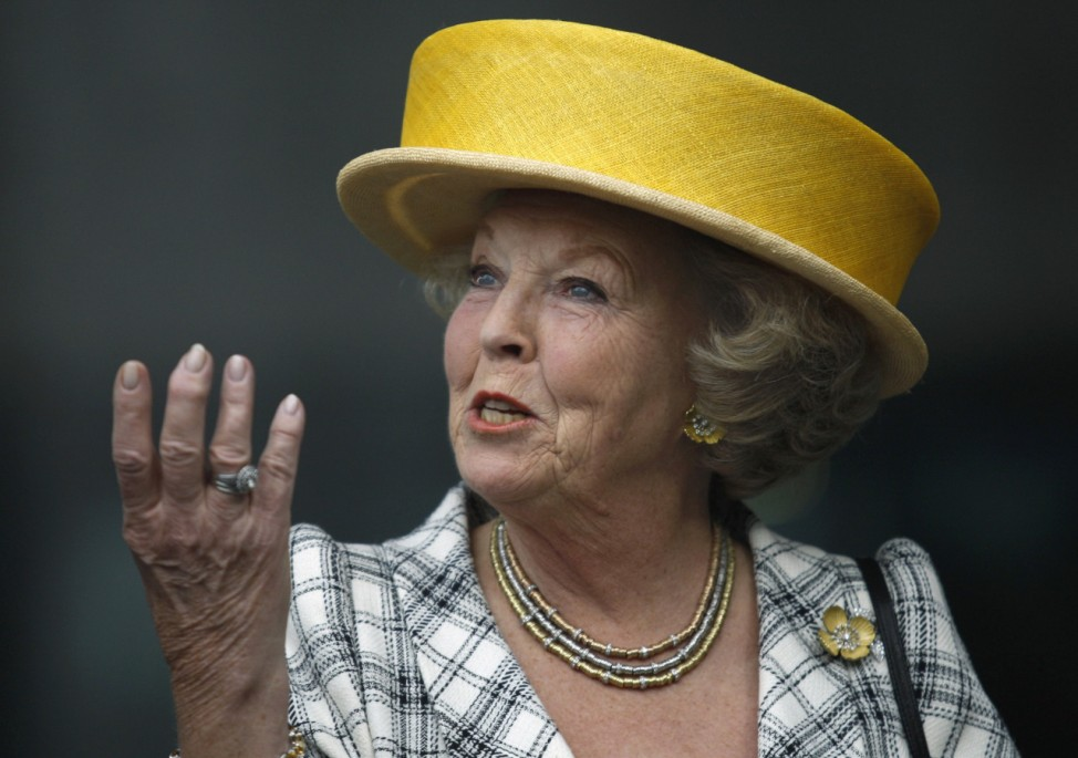 Dutch Queen Beatrix gestures during her visit to the National Museum of Anthropology in Mexico City