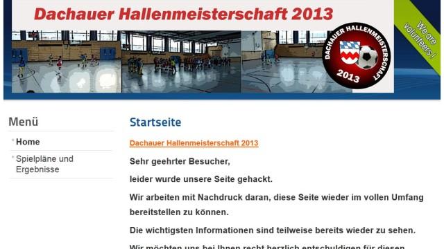 Hacker: Die Organisatoren der Dachauer Hallenmeisterschaft haben die Internetseite notdürftig wieder hergestellt.