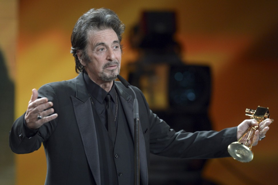U.S. actor Al Pacino speaks after receiving the trophy for category 'lifetime achievement award international' during 48th Golden Camera award ceremony in Berlin