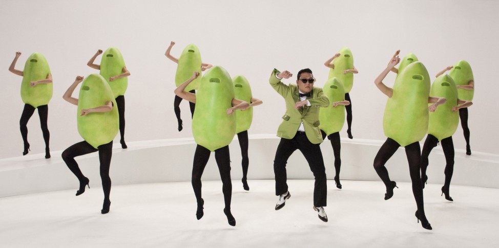 South Korean rapper Psy performs during filming of Super Bowl commercial in North Hollywood