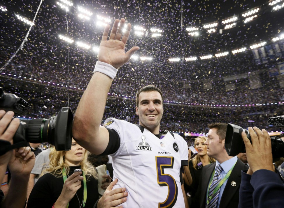 Baltimore Ravens quarterback Joe Flacco celebrates after his team defeated the San Francisco 49ers in the NFL Super Bowl XLVII football game in New Orleans