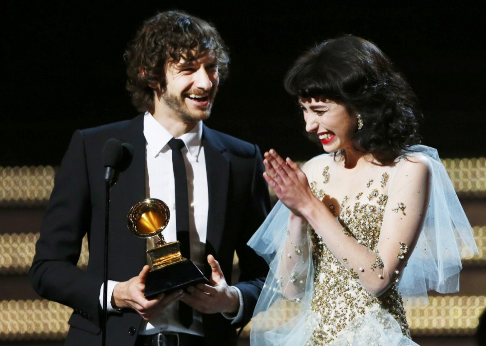 Gotye and Kimbra accept the Grammy award for record of the year for 'Somebody That I Used To Know' at the 55th annual Grammy Awards in Los Angeles