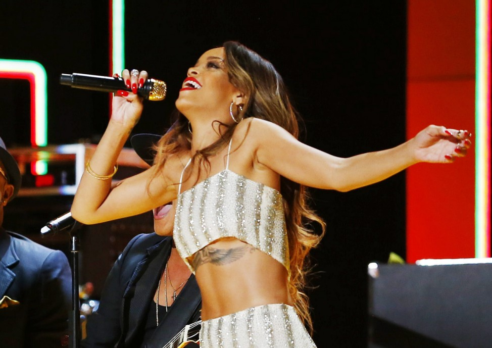 Rihanna performs at the 55th annual Grammy Awards in Los Angeles