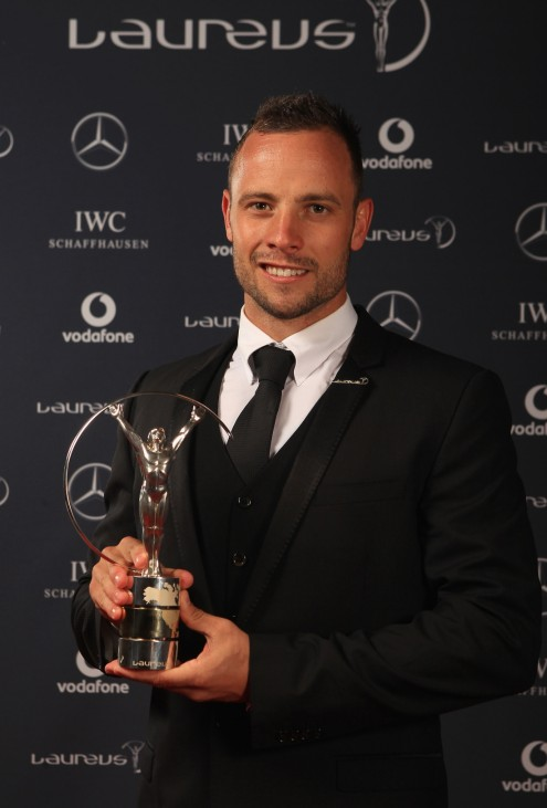 FILE - Oscar Pistorius Shoots Girlfriend Winners Studio-2012 Laureus World Sports Awards