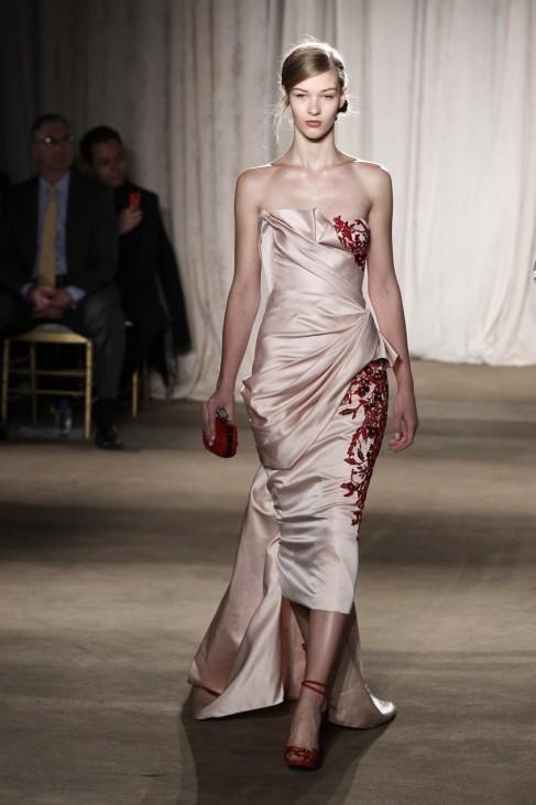A model presents a creation from the Marchesa Autumn/Winter 2013 collection during New York Fashion Week