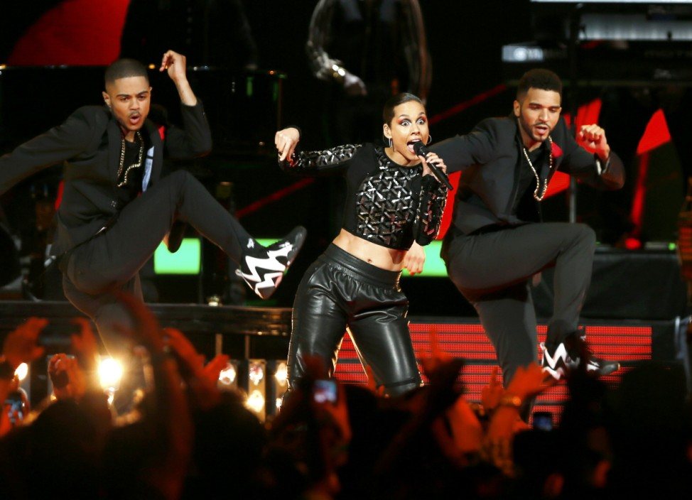 Singer Alicia Keys performs at half time during the NBA All-Star basketball game in Houston