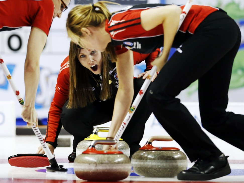 Ontario skip Homan yells instructions at her teammates against British Columbiaduring the Scotties Tournament of Hearts curling championship in Kingston