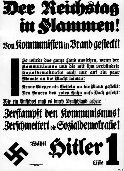 Wahlplakat der NSDAP bei dern Reichstagswahlen, 1933