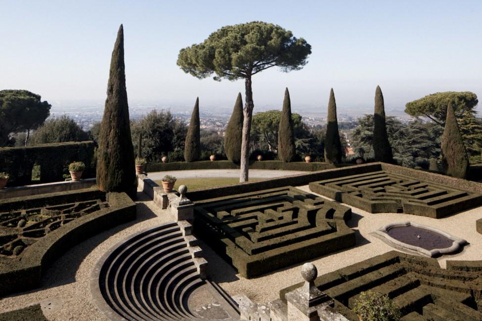 Gardens at the Ponitifical Villas of Castel Gandolfo, Italy.