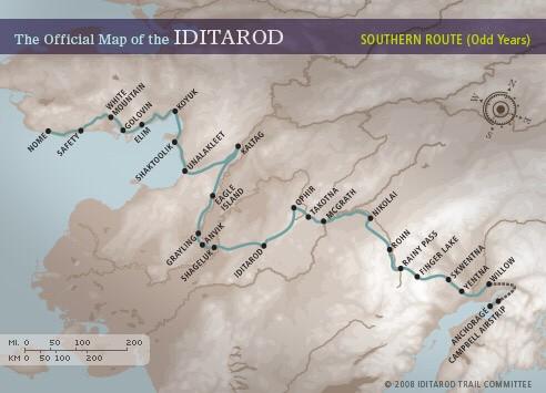 Iditarod Karte Map Route Strecke Streckenverlauf Anchorage Nome Alaska