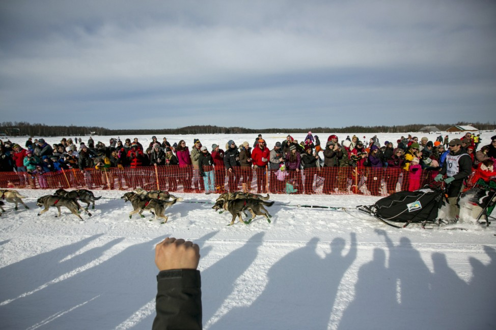 Kaiser's team charges down the trail during the re-start of the Iditarod dog sled race in Willow
