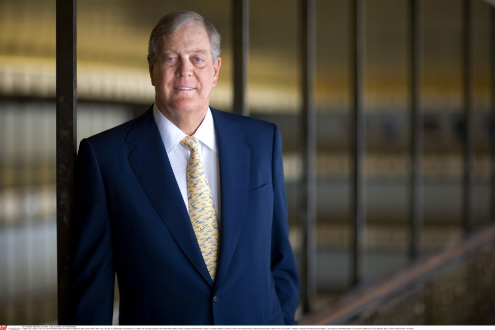 David H Koch, one of the billionaire brother who run Koch Industries, at the New York State Theater at Lincoln Center in New York.